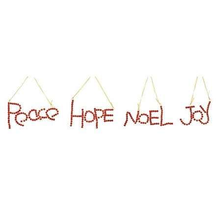 """Pack of 12 Red and Gold Jeweled """"Peace, Hope, Noel, and Joy"""" Christmas Ornaments"""
