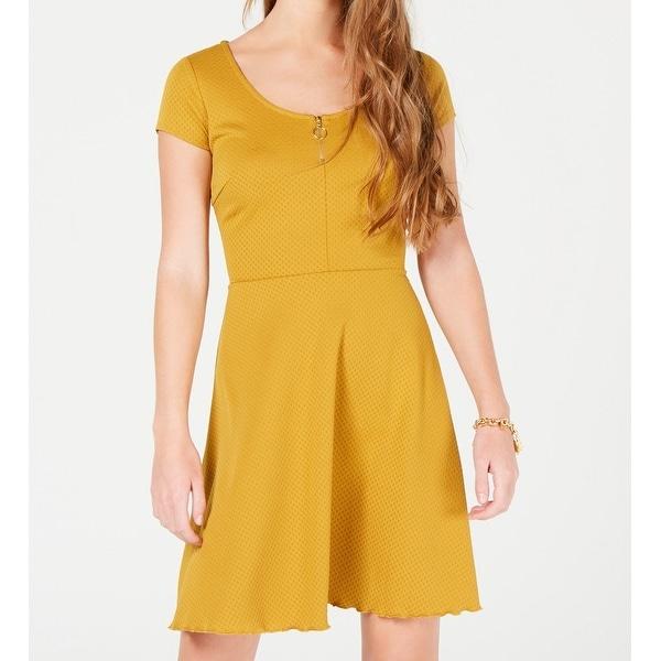 37293589ae403 Sequin Hearts Mustard Yellow Size Medium M Junior Sheath Dress