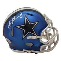 5cbc33040 Dak Prescott Autographed Mississippi State Bulldogs Silver Mini Helmet BAS
