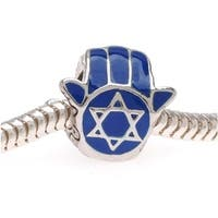 Silver Tone With Blue Enamel Jewish Star Of David Hamsa Hand - European Style Large Hole Bead (1)