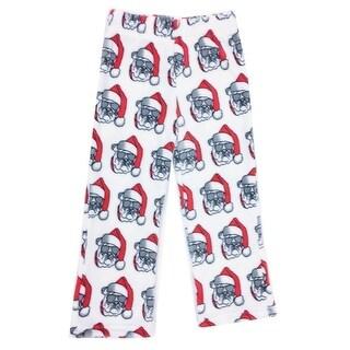 Kings n Queens Unisex White Red Santa Dog Coral Fleece Pajama Pants
