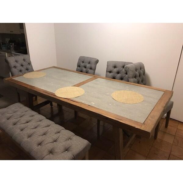 Dakota Oak Reinforced Concrete Trestle Dining Set By INSPIRE Q Artisan    Free Shipping Today   Overstock.com   18845778