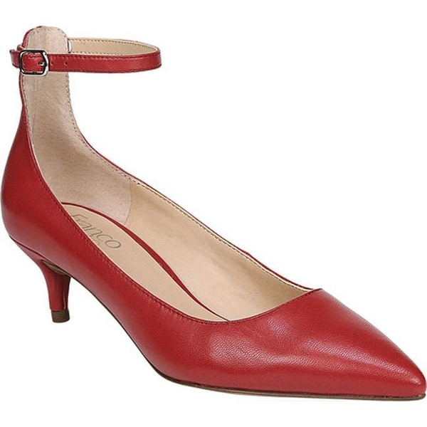 3594c7278247 Franco Sarto Women  x27 s Dolce Ankle Strap Pump Scarlet Gloss Kid Leather