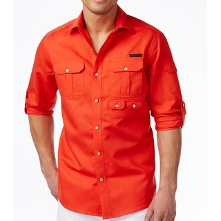 Sean John NEW Bright Red Mens Size Large L Button Down Linen Shirt