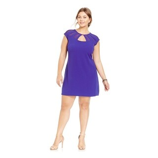City Chic Womens Cocktail Dress Cut Out Cap Sleeves - S