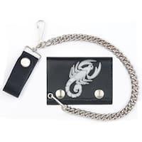 Scorpion Trifold Biker Wallet W Chain Mens Leather #565  Wallets