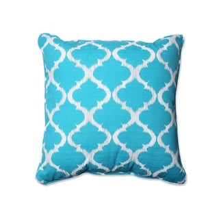 "25"" Moroccan Dreams Caribbean Blue and Silver Gray Corded Decorative Floor Pillow"