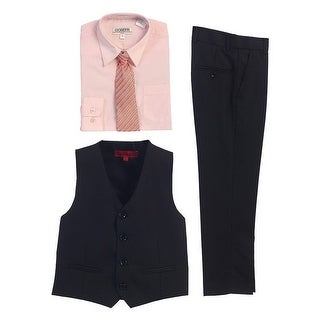 Gioberti Pink Black Vest Pants Striped Tie Shirt 4 Pc Formal Set