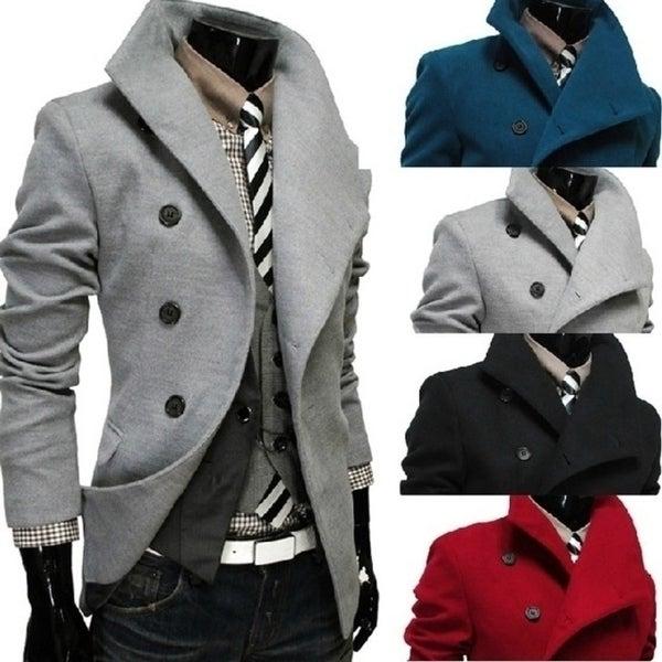woolen Fashion Turn-Down Collar Woolen cool Men's Coats