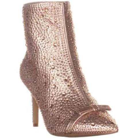 INC International Concepts Womens Ignacia Faux Fur Pointed Toe Ankle Fashion Boots