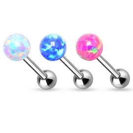 6mm Opal BInternally Threaded 316L Surgical Steel Barbell (Sold Individually)