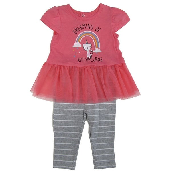 6539278fdded0 Weeplay Baby Girls Gray Pink Kitty Unicorn Skirted Top 2 Pc Pant Outfit