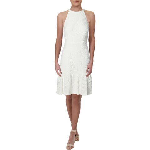 Lauren Ralph Lauren Womens Aisha Halter Dress Lace Cocktail - White