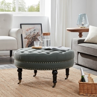 Link to Belleze Round Button Tufted Cushion Ottoman Trim w/ Caster Wheel, Gray Similar Items in Ottomans & Storage Ottomans