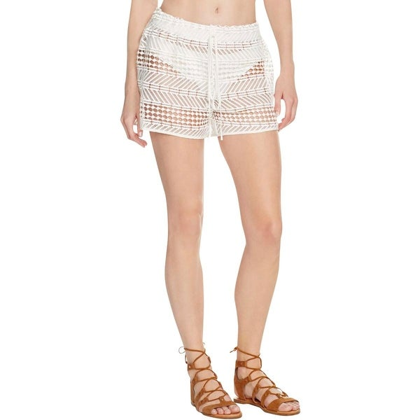Shop Milly Womens Crochet Stretch Shorts Swim Cover Up S Free