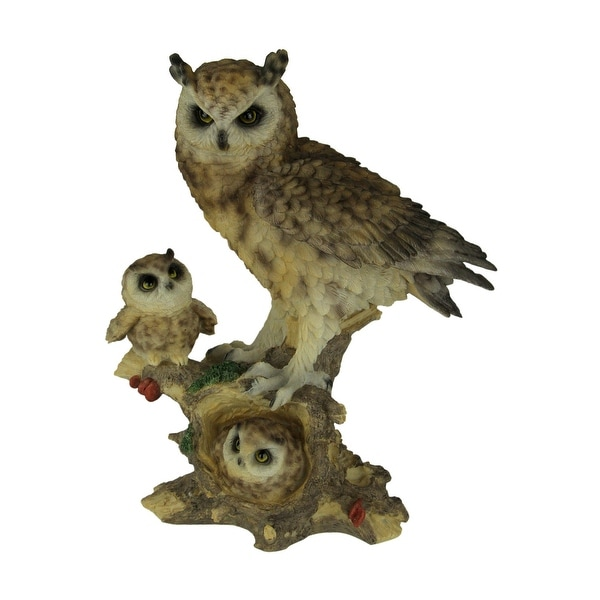 Owl Little Family Mother Owl and Owlets Wildlife Statue - 11.5 X 9.5 X 5 inches