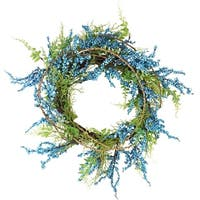 "12"" Blue, Green and Brown Berry Artificial Spring Twig Wreath - Unlit - BLue"