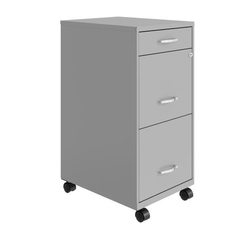 """Space Solutions 18"""" Deep 3 Drawer Metal File Cabinet, Arctic Silver"""