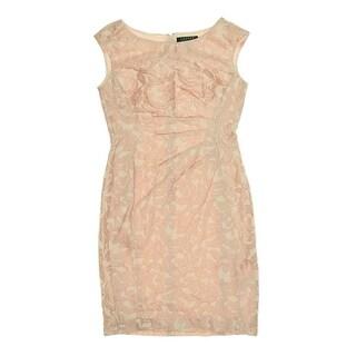 Lauren Ralph Lauren Womens Petites Jacquard Sleeveless Cocktail Dress - 6P