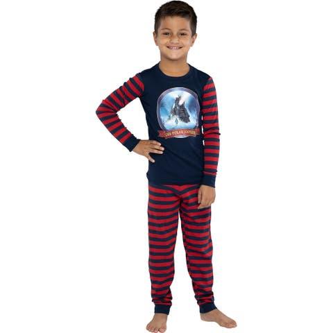 The Polar Express Train Kids Tight Fit Long Sleeve Cotton Pajamas