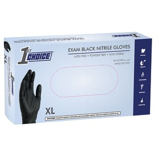 1st Choice Black Nitrile Exam Latex Free Disposable Gloves