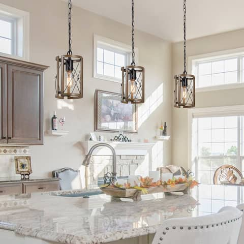 Rustic Farmhouse 1-light Pendant Cylinder Island Ceiling Lights for Dining Room - L5.5'' x W5.5'' x H9.1''