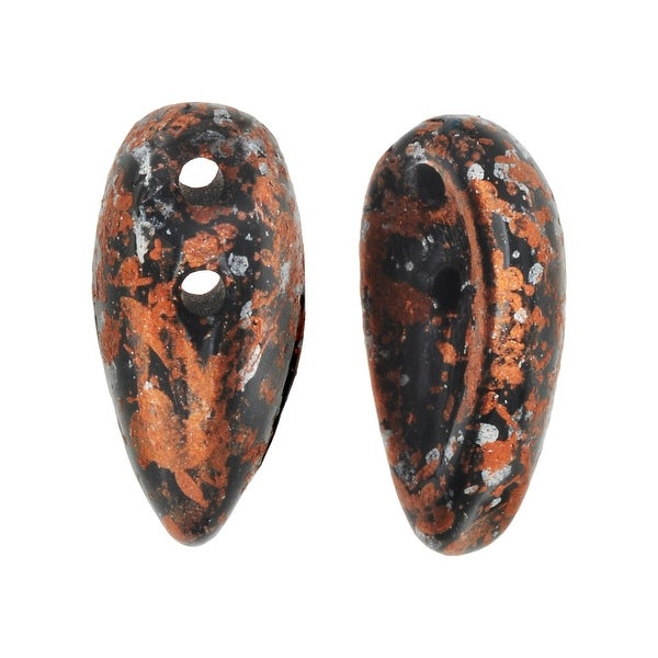 Preciosa Czech Glass, 2-Hole Chilli Beads 11x4mm, 40 Pieces, Tweedy Copper