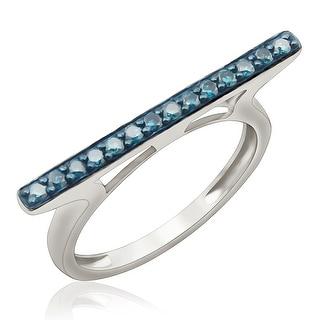 Fabulous 0.25 Carat Round Brilliant Cut Blue Diamond Stylist Ring
