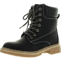 Forever Womens Broadway3 Military Combat Lace Up Faux Wool Fur Lined High Top Ankle Boots