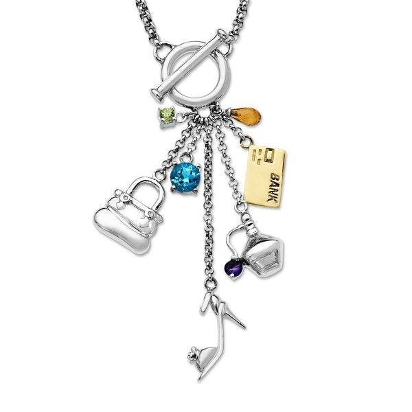 1 1/6 ct Multi-Stone Necklace in Sterling Silver & 14K Gold
