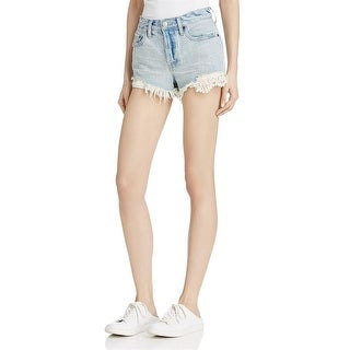 Free People Womens Cutoff Shorts Denim Lace Inset