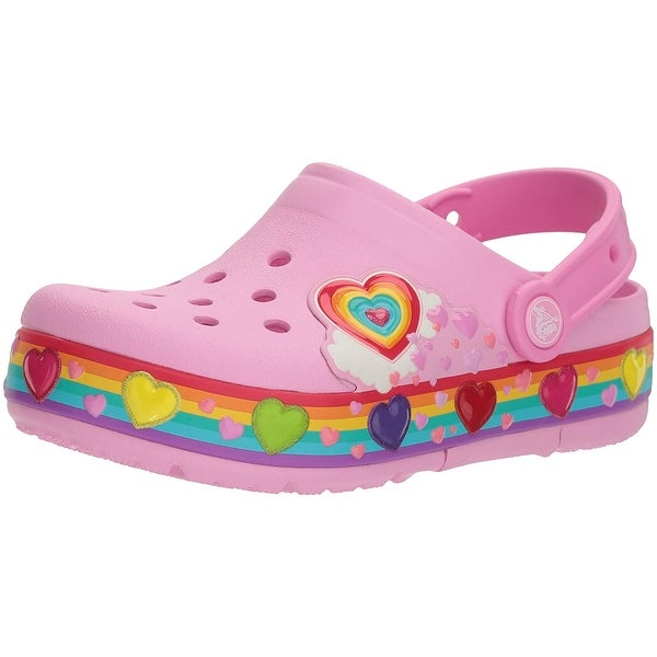 67a528272 Shop Crocs Kids  Girls Crocband Rainbow Hearts Light-Up Clog - Free ...