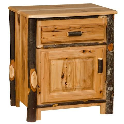 Hickory Log Nightstand with Door