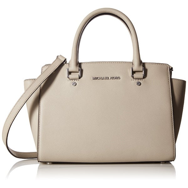 8d915ad4d5def Shop Michael Kors NEW Gray Cement Saffiano Selma Medium Satchel Bag ...
