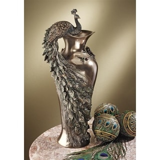 Design Toscano Peacock Centerpiece Sculptural Vase