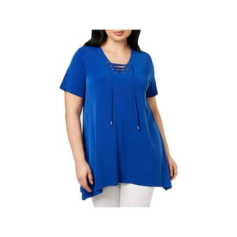 Calvin Klein Womens Plus Pullover Top Lace-Up Short Sleeves