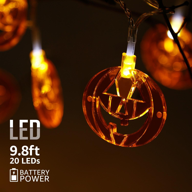Halloween Led Copper Wire String Lights Flat Pumpkins Pendants 8 Modes N A