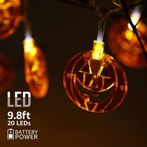 Halloween Copper Wire String Lights, Flat Pumpkins Pendants, 8 Modes - N/A