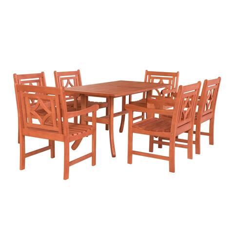 Malibu Outdoor 7-piece Wood Patio Curvy Legs Table Dining Set
