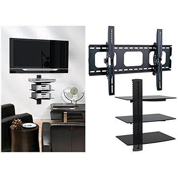 2xhome - TV Wall Mount with 3 Shelves Up to 85 inches Floating Shelf with Strengthened Tempered Glass - N/A