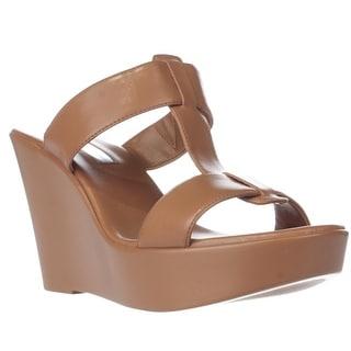 I35 Paciee Wedge Platform Slide Sandals, Honey