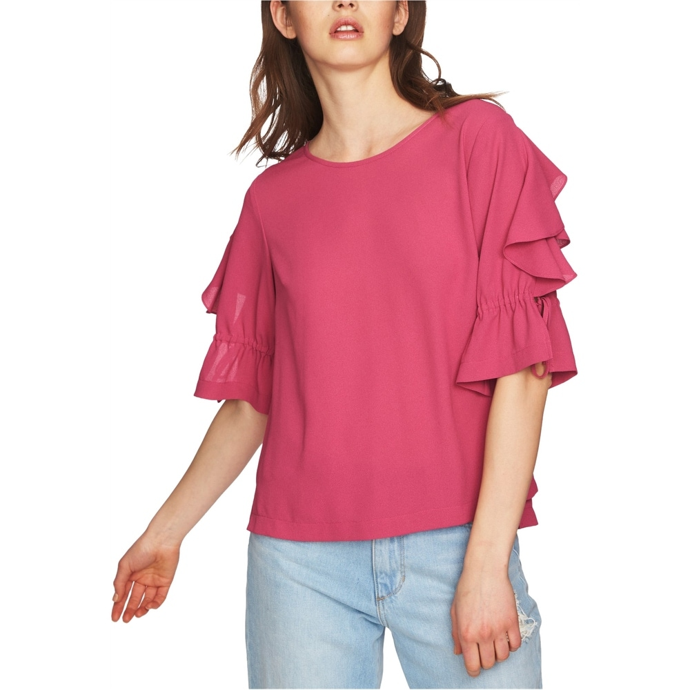 1.State Womens Short Sleeve Ruched Sleeve Blouse with Ties