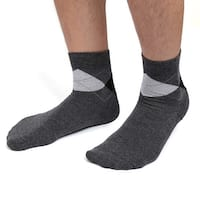 1 Pair Men Dark Gray Argyle Prints Moisturising Cracked Skin Gel Heel Socks