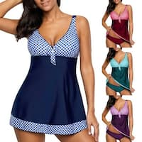 Fashion Plaid Bowknot Tankini Set Women Summer Beach Swimwear Bathing Suit