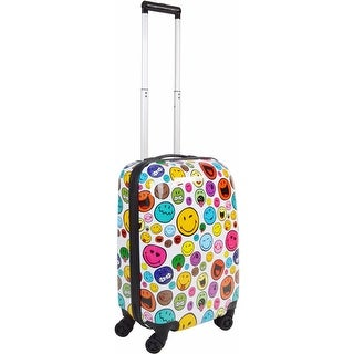 Smiley 26 Inch Celebration Rolling Luggage - White