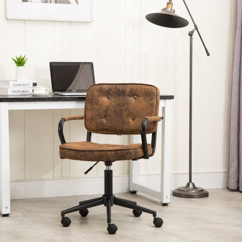 Porthos Home Itzel Office Task Chair, Button Tufted Suede Upholstery
