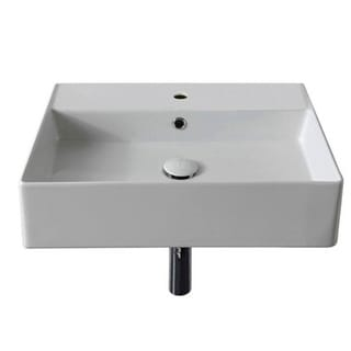"Nameeks Scarabeo 5111  Scarabeo Teorema 2.0 20"" Rectangular Ceramic Vessel or Wall Mounted Bathroom Sink with Overflow"