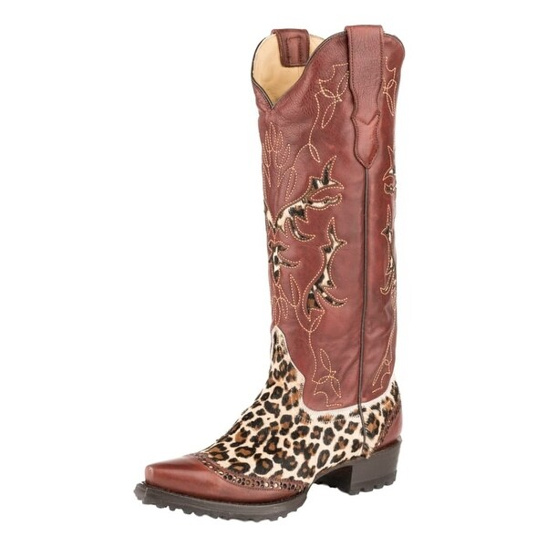 Stetson Western Boots Womens Snip Leather Wine