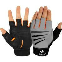 Bionic Men's Cross-Training Premium Fingerless Fitness Gloves -Gray/Black/Orange - gray/black/orange
