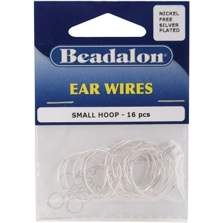Ear Wire Beading Hoops Small 20mm 16/Pkg-Silver-Plated & Nickel-Free - Silver